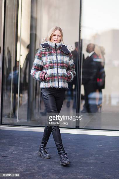 Model Anna Ewers exits the Hugo Boss show on the streets of Manhattan on February 18 2015 in New York City