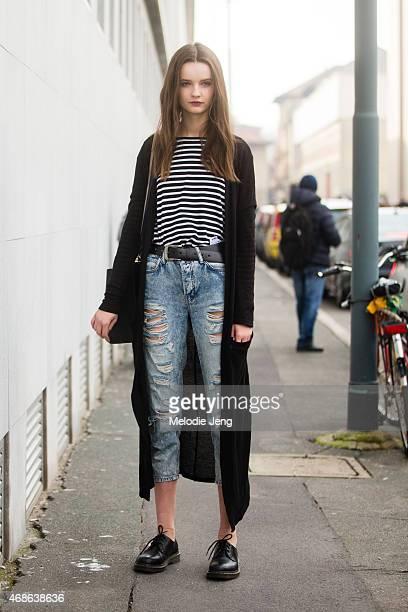 Model Anna Grostina exits the Bottega Veneta show on Day 4 of Milan Fashion Week FW15 on February 28 2015 in Milan Italy