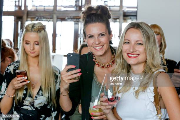 Model Anna Hiltrop German presenter Katrin Wrobel and german actress Vanessa Eichholz attend the Thomas Sabo Press Cocktail during the MercedesBenz...