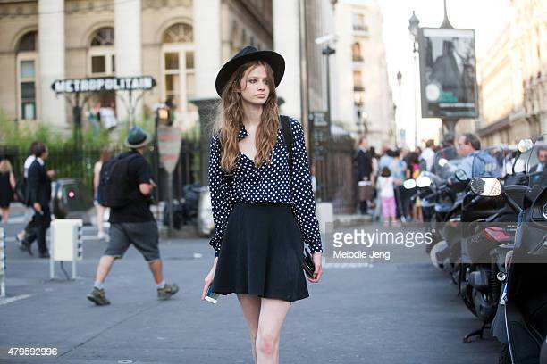 Model Anna Lund exits the Versace Couture show at Palais Brongniart on July 5 2015 in Paris France