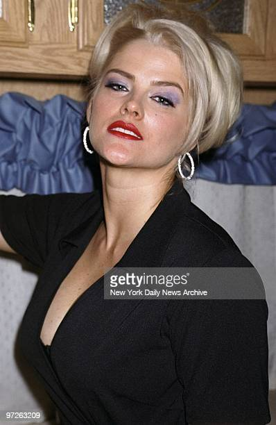 Model Anna Nicole Smith is backstage at plussize retailer Lane Bryant's spring/summer 2001 lingerie show at Studio 54