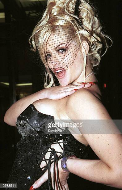 Model Anna Nicole Smith poses outside her birthday party at 9000 Sunset Blvd on November 21 2003 in West Hollywood California