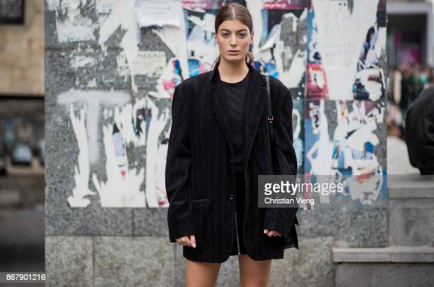 Model Anna Shelia wearing black blazer jacket is seen during Tbilisi Fashion Week Spring/Summer 2018 on October 29 2017 in Tbilisi Georgia