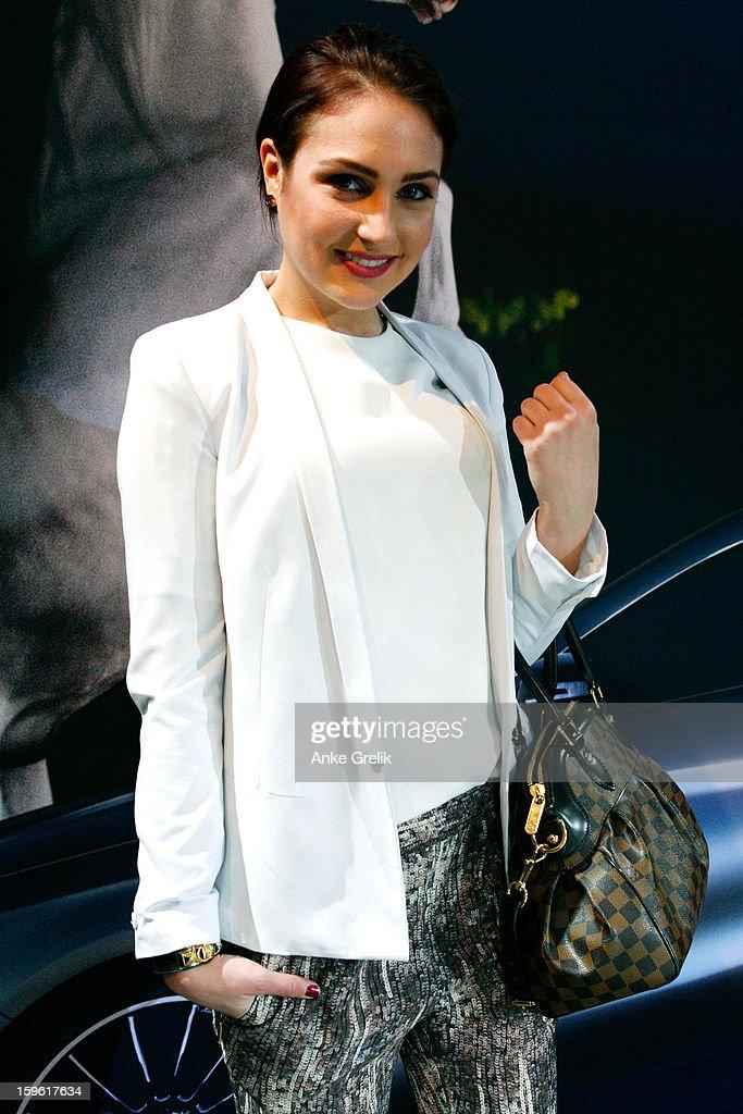 Model Anna Spitzkat wearing Zara trouser attends Mercedes-Benz Fashion Week Autumn/Winter 2013/14 at the Brandenburg Gate on January 17, 2013 in Berlin, Germany.