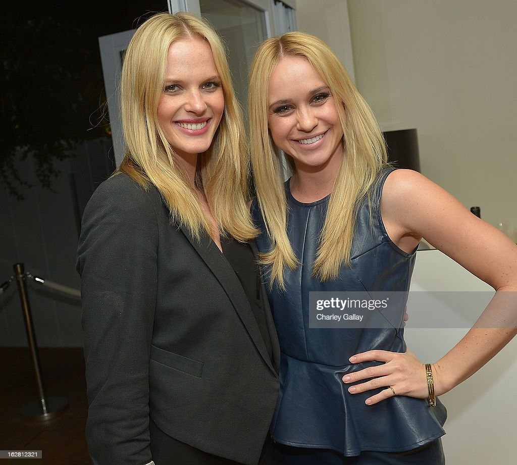 Model Anne V (L) and <a gi-track='captionPersonalityLinkClicked' href=/galleries/search?phrase=Becca+Tobin&family=editorial&specificpeople=5391184 ng-click='$event.stopPropagation()'>Becca Tobin</a> attend Rachel Roy Celebrates the New Host of 'Fashion Star' Louise Roe at Mondrian Los Angeles on February 27, 2013 in West Hollywood, California.