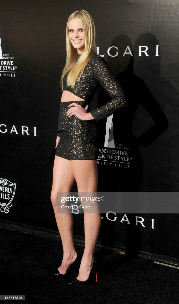 Model Anne V arrives at the Rodeo Drive Walk of Style honoring Bvlgari on December 5, 2012 in Beverly Hills, California.