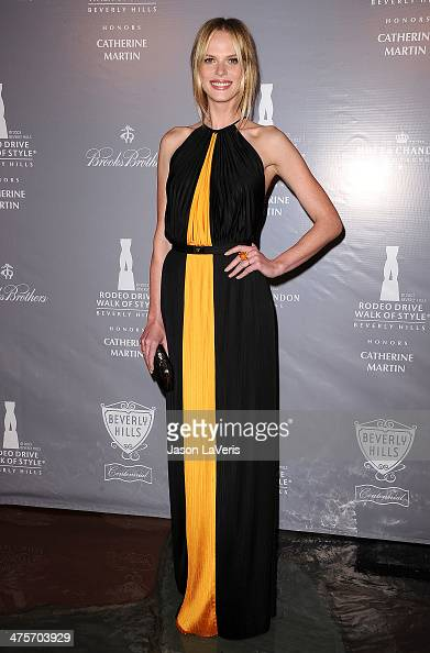 Model Anne V attends the Rodeo Drive Walk of Style awards ceremony at Greystone Mansion on February 28 2014 in Beverly Hills California