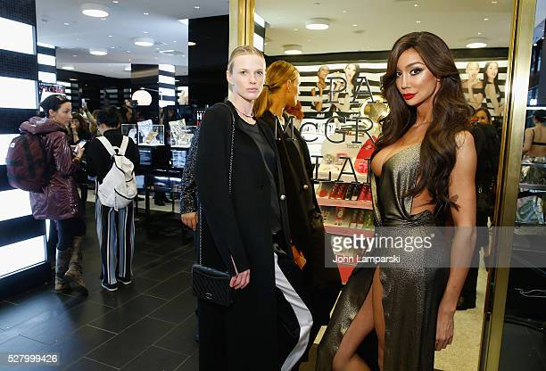 Model Anne Vyalitsyna and Yasmine Petty attend Pat McGrath's Skin Fetish 003 Launch at Sephora Union Square on May 3 2016 in New York City