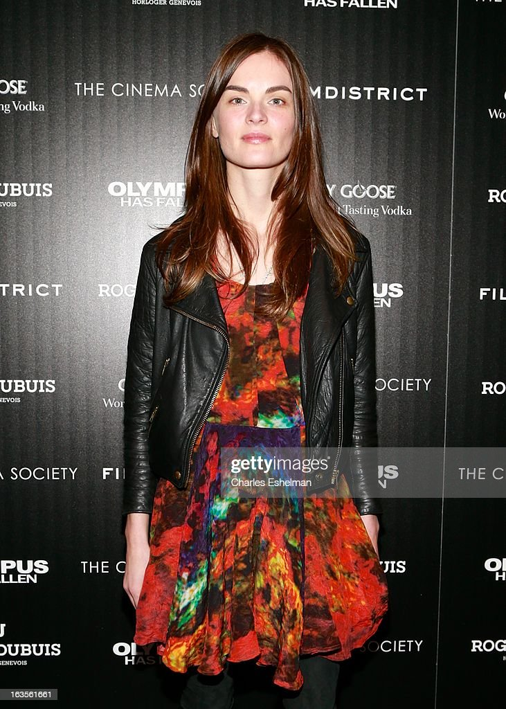 Model Anouck Lepere attends The Cinema Society with Roger Dubuis and Grey Goose screening of FilmDistrict's 'Olympus Has Fallen' at the Tribeca Grand Screening Room on March 11, 2013 in New York City.