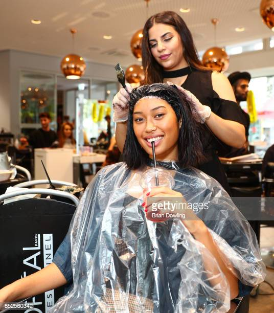 Model Anuthida Polypetch attends the Influencer event 'Create Your New Look' hosted by Udo Walz on September 23 2017 at the Udo Walz Salon in Berlin...