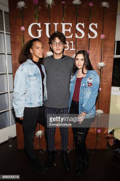 Model Anwar Hadid and Ella Marciano attend the Guess 1981 fragrance launch at Chateau Marmont on March 21 2017 in Los Angeles California