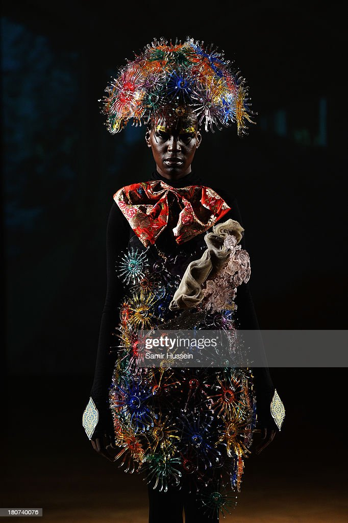 A model appears at the Little Shilpa presentation at London Fashion Week SS14 at Freemasons Hall on September 16, 2013 in London, England.