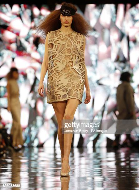 A model appears on the catwalk during the London College of Fashion MA Show at the Waldorf Astoria Hotel Aldwych on day one of London Fashion Week