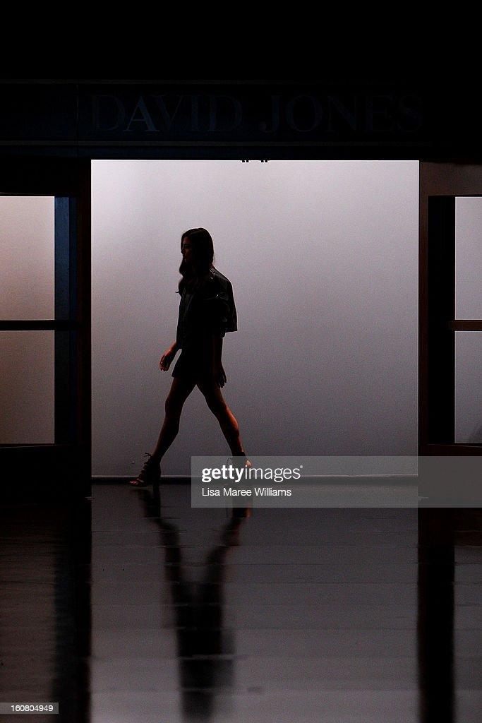 A model appears on the runway during rehearsal ahead of the David Jones A/W 2013 Season Launch at David Jones Castlereagh Street on February 6, 2013 in Sydney, Australia.