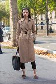 Model Appoline Rozhdestvenska exits the Pascal Millet show on September 23 2014 at Palais de Tokyo Paris France