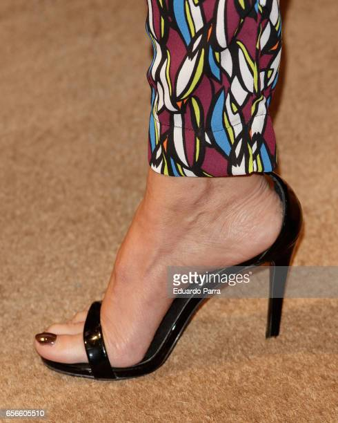 Model Arancha del Sol shoes detail attends the Juanjo Oliva's new collection parade at El Corte Ingles store on March 22 2017 in Madrid Spain