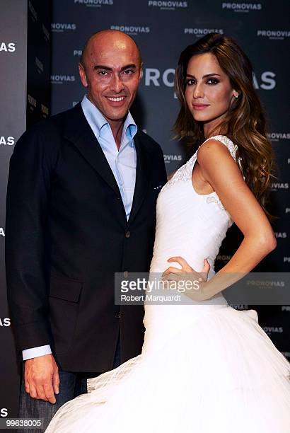 Model Ariadne Artiles and creative director Manuel Mota present the latest collection for Pronovias 2011 on May 17 2010 in Barcelona Spain