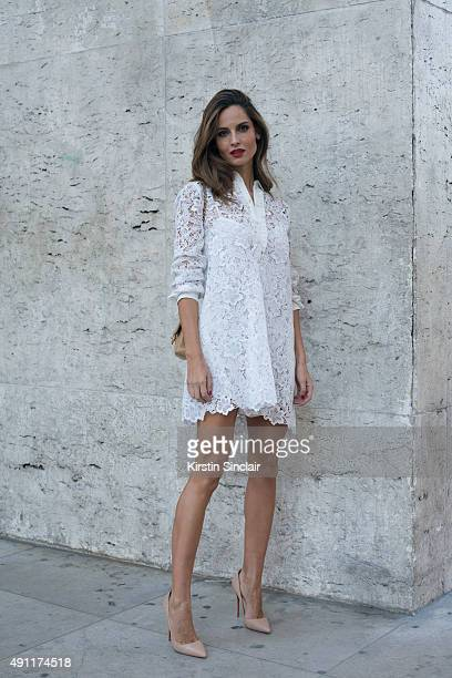 Model Ariadne Artiles wears a Rochas Dress and Louis Vuitton shoes on day 2 during Paris Fashion Week Spring/Summer 2016/17 on September 30 2015 in...