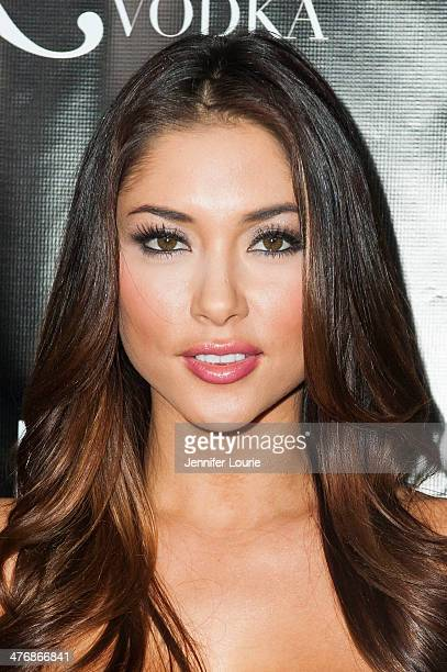 Model Arianny Celeste arrives at the Naluda Magazine March Issue launch party with cover girl Joyce Giraud hosted at the Luxe Rodeo Drive Hotel on...