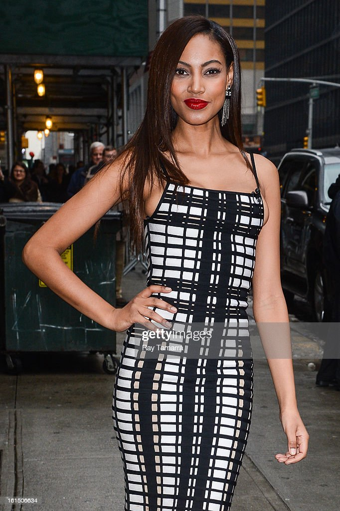 Model Ariel Meredith enters the 'Late Show With David Letterman' taping at the Ed Sullivan Theater on February 11, 2013 in New York City.