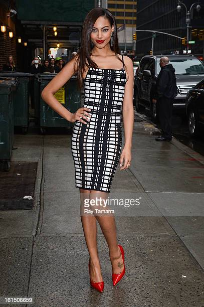 Model Ariel Meredith enters the 'Late Show With David Letterman' taping at the Ed Sullivan Theater on February 11 2013 in New York City