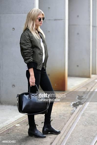 A model arrives at MercedesBenz Fashion Week Australia 2015 at Carriageworks on April 13 2015 in Sydney Australia
