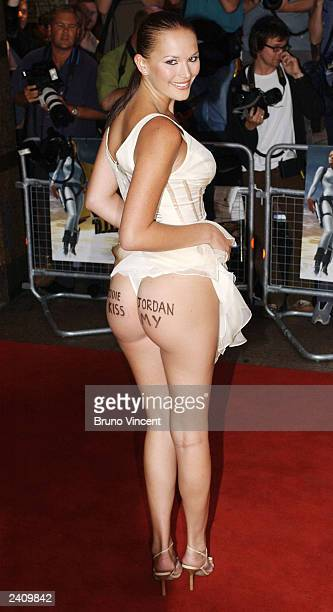 A model arrives at the UK premiere of 'Lara Croft Tomb Raider The Cradle of Life' at the Empire cinema Leicester Square on August 19 2003 in London
