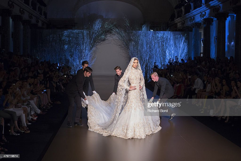 A model as the bride walks the runway during the Ralph & Russo show finale as part of Paris Fashion Week Haute Couture Fall/Winter 2015/2016 on July 6, 2015 in Paris, France.