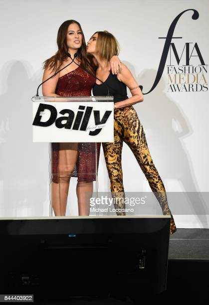 Model Ashley Graham and CR Fashion Book EIC Carine Roitfeld speak onstage at the Daily Front Row's Fashion Media Awards at Four Seasons Hotel New...