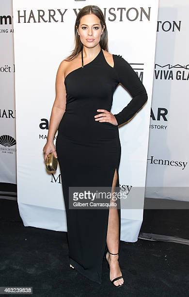 Model Ashley Graham attends the 2015 amfAR New York Gala at Cipriani Wall Street on February 11 2015 in New York City