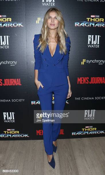Model Ashley Haas attends the screening of Marvel Studios' 'Thor Ragnarok' hosted by The Cinema Society with FIJI Water Men's Journal and Synchrony...