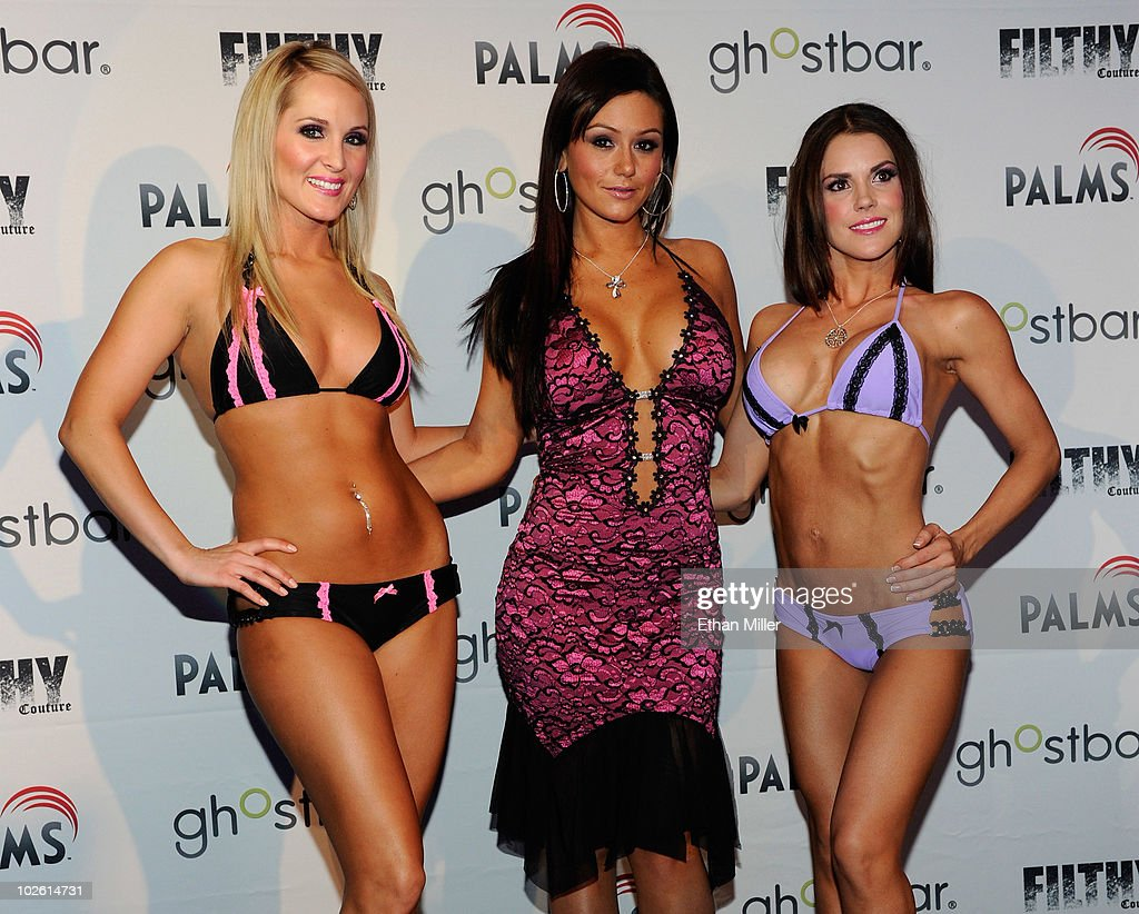 Model Ashton Wingo, television personality Jenni 'JWoWW' Farley and model Melissa Richardson present creations by Farley during the unveiling of her new 'Filthy Couture' clothing line at Ghostbar at the Palms Casino Resort July 3, 2010 in Las Vegas, Nevada.