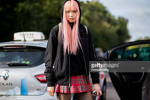 A model at Louis Vuitton during the Paris Fashion Week Womenswear Spring/Summer 2016 on Oktober 7 2015 in Paris France
