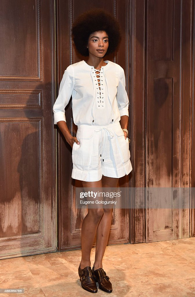 A model at the Hanley Mellon presentation Spring 2016 during New York Fashion Week at Hudson Mercantile on September 15 2015 in New York City