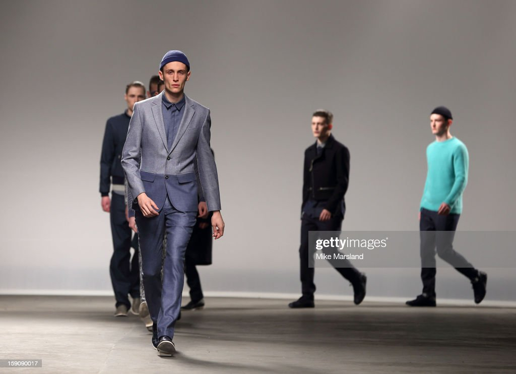 A model at the Richard Nicoll show at the London Collections: MEN AW13 at The Old Sorting Office on January 7, 2013 in London, England.