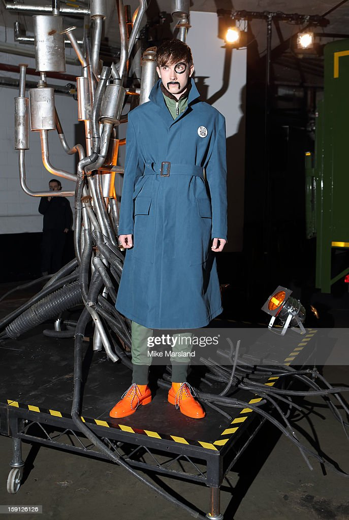 A Model at the Vivienne Westwood Man show at the London Collections: MEN AW13 at Harrods on January 8, 2013 in London, England.