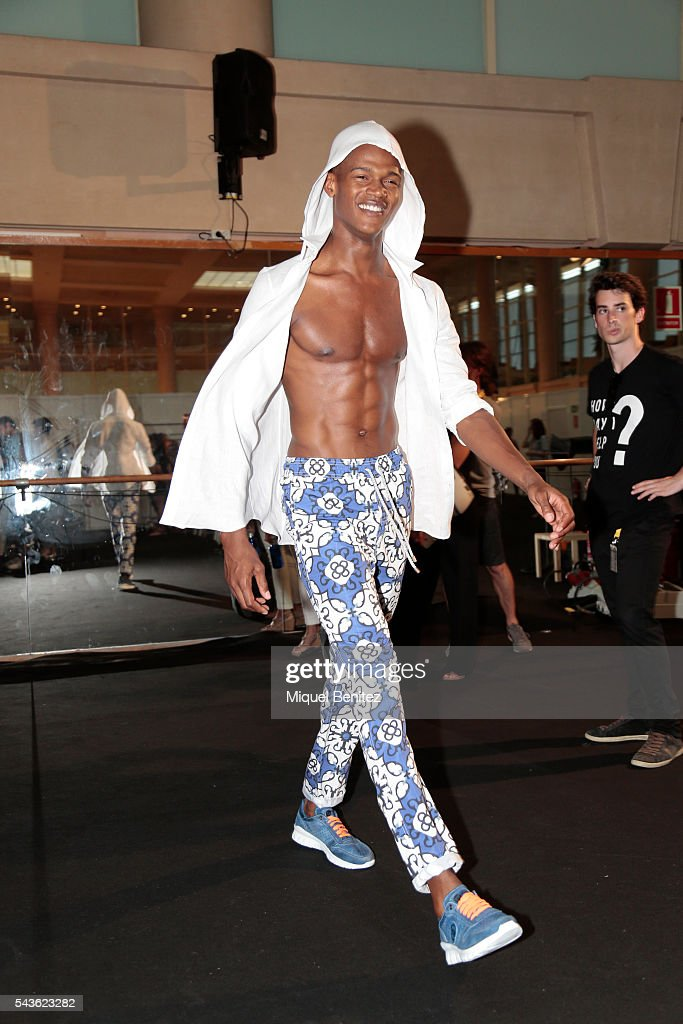 A model attends at the backstage of BCN Brand Barcelona 080 Fashion Week Spring/Summer 2017 at the INEFC Institut Nacional de Educacio Fisica de Catalunya on June 29, 2016 in Barcelona, Spain.