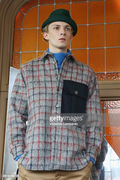 Model attends Iceberg Presentation during the Milan Menswear Fashion Week/Fall Winter 2015/2016 on January 17 2015 in Milan Italy