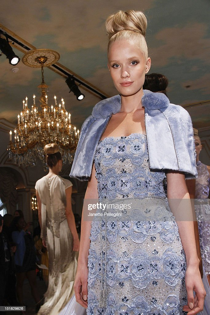 A model attends the Dennis Basso spring 2013 presentation during Mercedes-Benz Fashion Week at the St. Regis Hotel on September 11, 2012 in New York City.