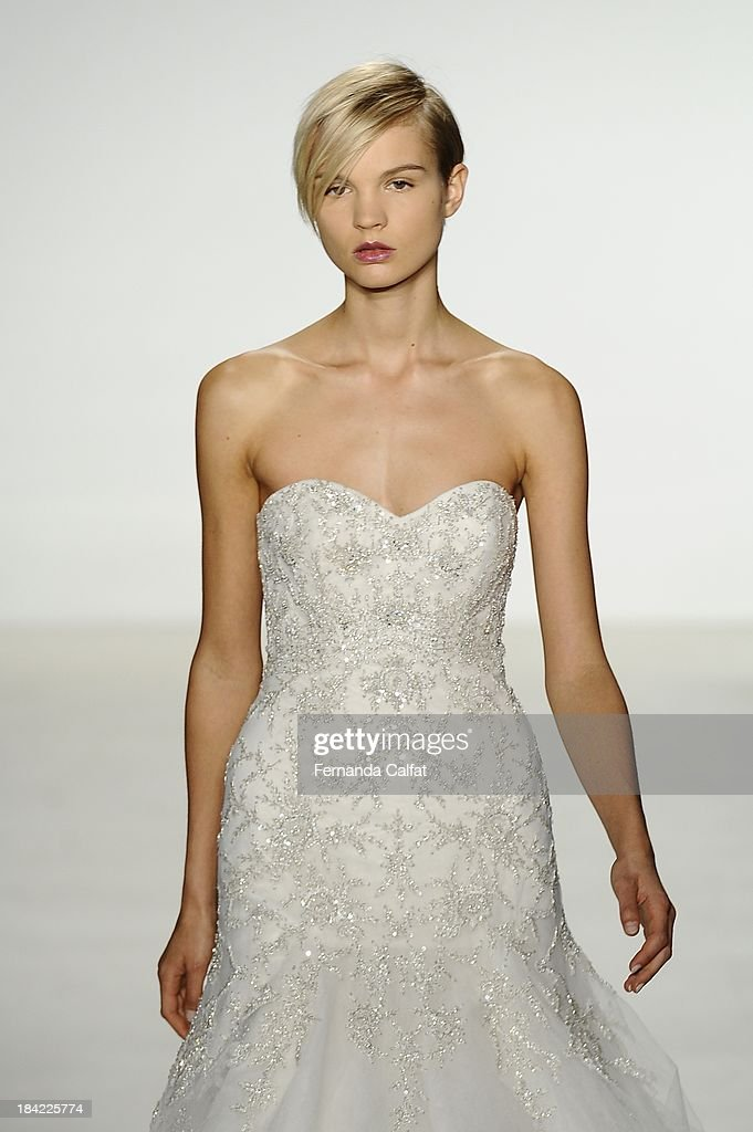 A model attends the Kenneth Pool Fall 2014 Bridal collection show at EZ Studios on October 12, 2013 in New York City.