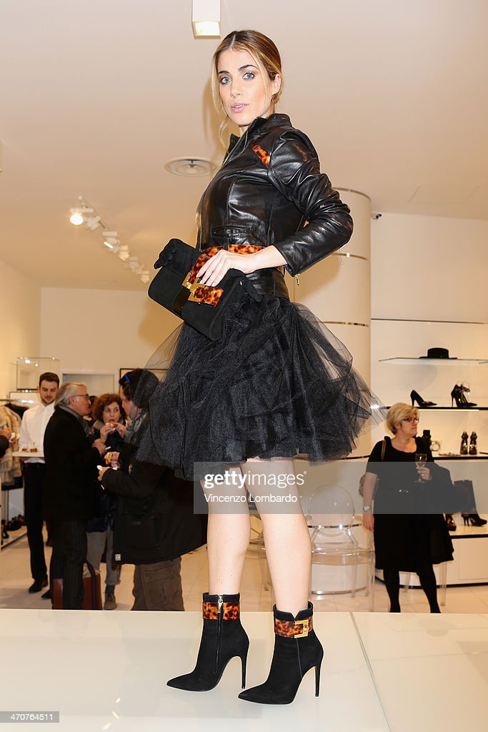 A model attends the Loriblu Cocktail Party as part of Milan Fashion Week Womenswear Autumn/Winter 2014 on February 20, 2014 in Milan, Italy.