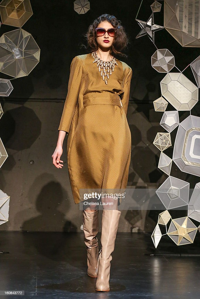 A model attends the Tia Cibani fall 2013 presentation during Mercedes-Benz Fashion Week at Baryshnikov Arts Center on February 6, 2013 in New York City.