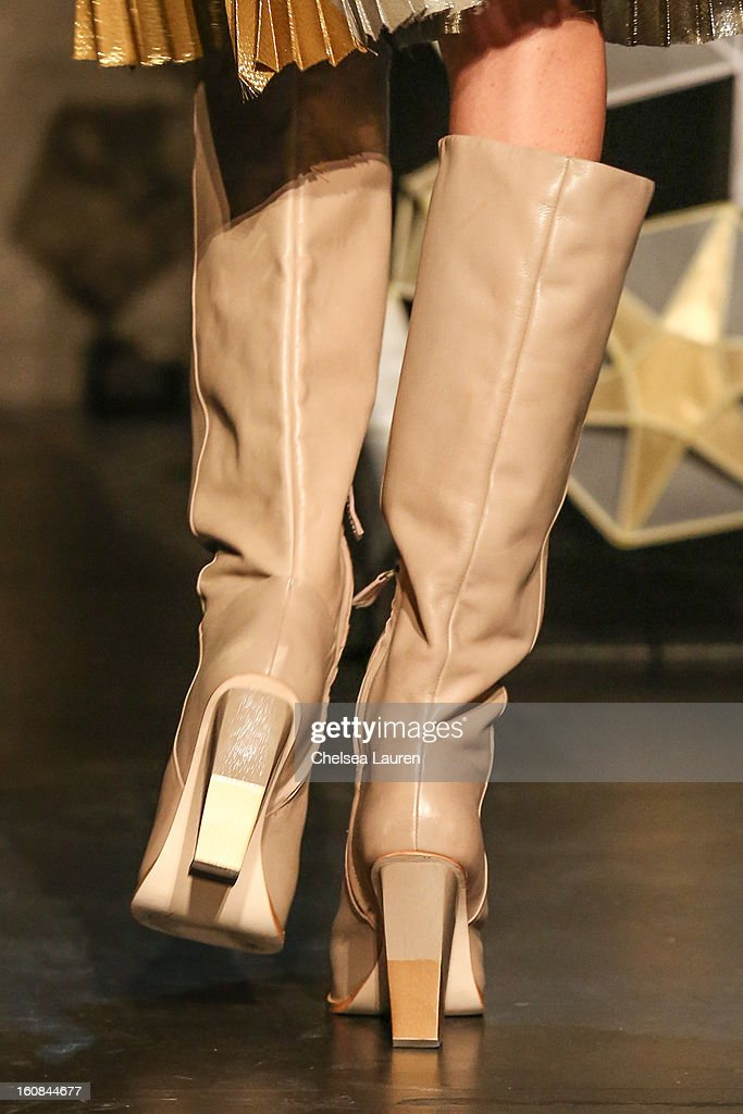 A model (shoe detail) attends the Tia Cibani fall 2013 presentation during Mercedes-Benz Fashion Week at Baryshnikov Arts Center on February 6, 2013 in New York City.