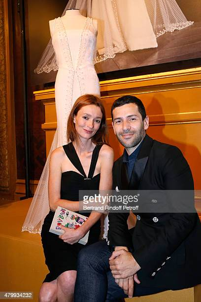 Model Audrey Marnay and Fashion designer Alexis Mabille attend the Presentation of the Alexis Mabille Haute Couture Fall/Winter 2015/2016 collection...