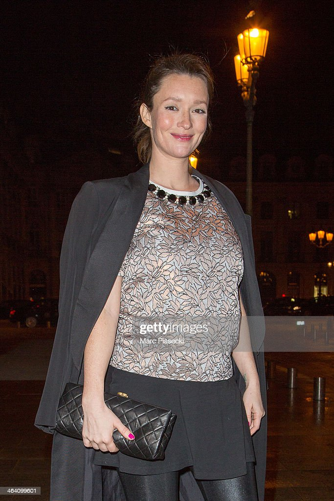 Model Audrey Marnay arrives at the Alexis Mabille show as part of Paris Fashion Week Haute-Couture Spring/Summer 2014 on January 20, 2014 in Paris, France.