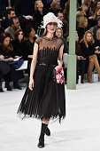 Model Audrey Marnay walks the runway during the Chanel show as part of Paris Fashion Week Haute Couture Spring/Summer 2015 on January 27 2015 in...