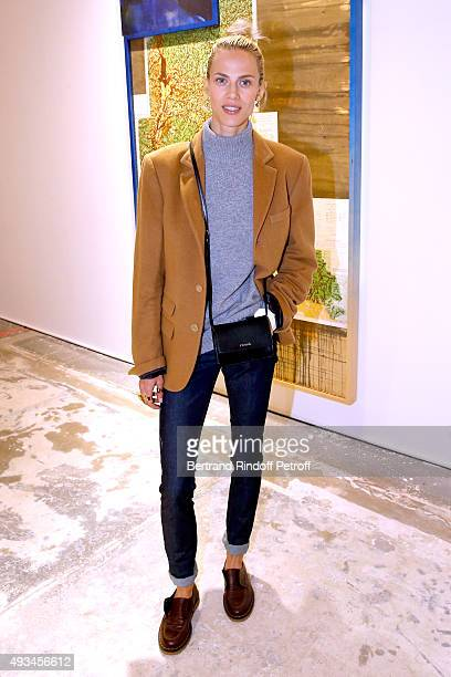 Model Aymeline Valade attends the 'New American Art' Exhibition of Artists Matthew Day Jackson and Rashid Johnson Opening Cocktail at Studio des...