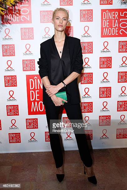 Model Aymeline Valade attends the Sidaction Gala Dinner 2015 at Pavillon d'Armenonville on January 29 2015 in Paris France