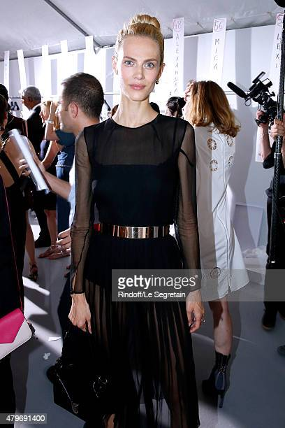 Model Aymeline Valade poses backstage after the Christian Dior show as part of Paris Fashion Week HauteCouture Fall/Winter 2015/2016 on July 6 2015...