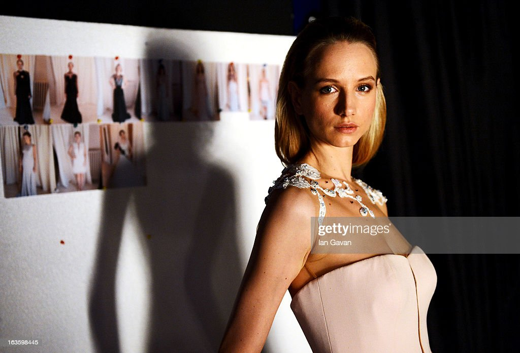 A model backstage ahead of the Begum Salihoglu Couture show during Mercedes-Benz Fashion Week Istanbul Fall/Winter 2013/14 at Antrepo 3 on March 13, 2013 in Istanbul, Turkey.